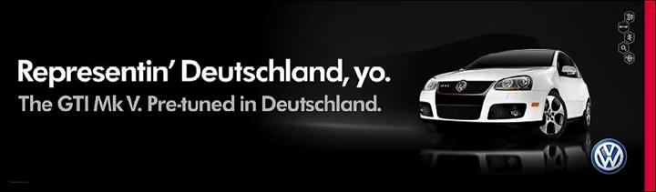 """VW-Banner: """"Representin' Deutschland, yo."""""""