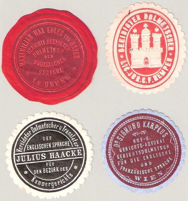 Siegelmarken von Gerichtsdolmetschern