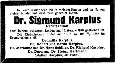 Dr. Sigmund Karplus, Todesanzeige