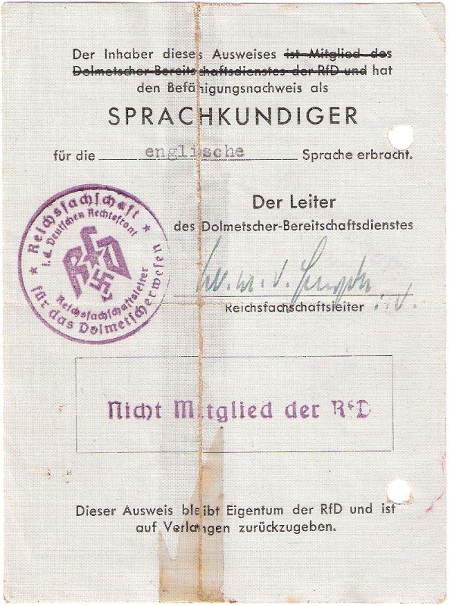 RfD-Ausweis Fanny Scholle (Rückseite)