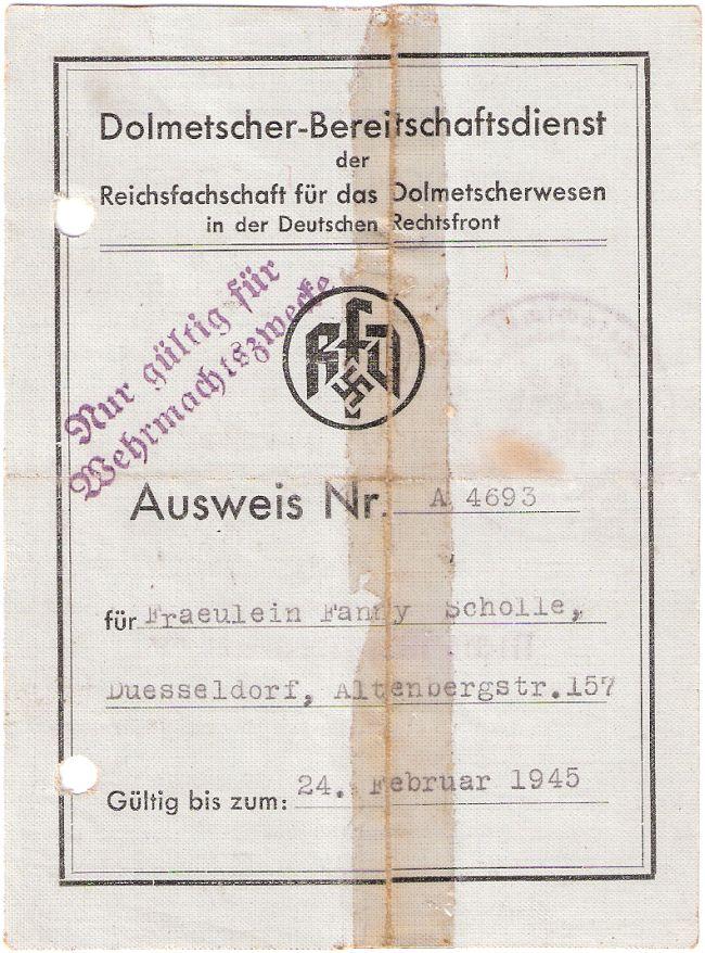 RfD-Ausweis Fanny Scholle (Vorderseite)