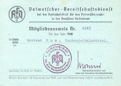 RfD-Ausweis Gertrud Ram
