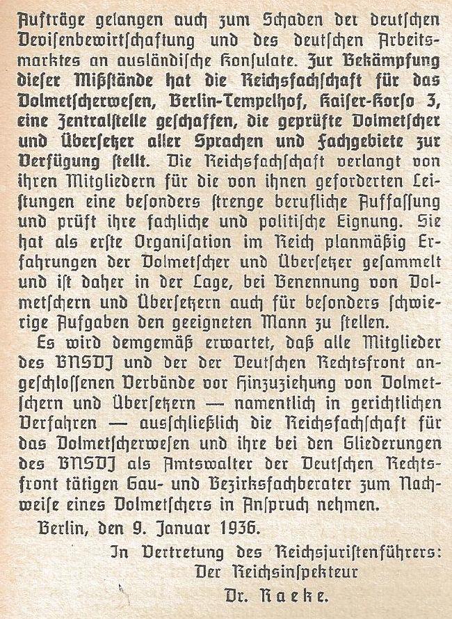 Reichsfachschaft für das Dolmetscherwesen, Rundschreiben 2/1936