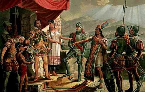 Cortés, Malinche und Moctezuma