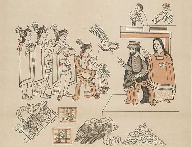 Zeichnung Malinche als Dolmetscherin