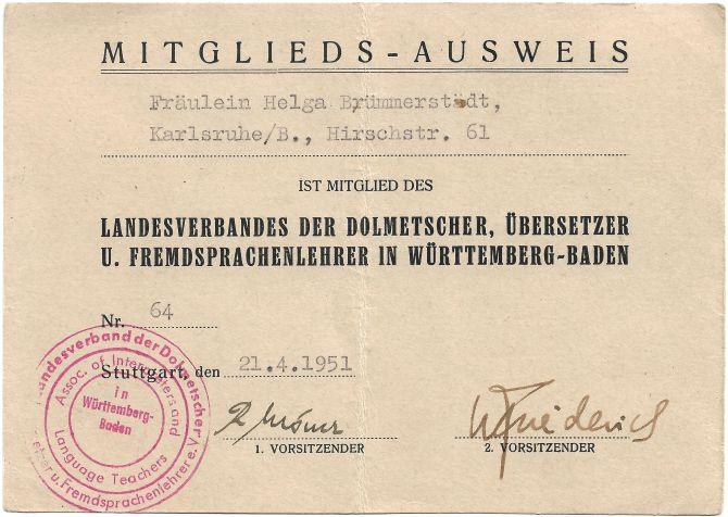 Mitgliedsausweis Landesverband der Dolmetscher, Übersetzer und Fremdsprachenlehrer im Württemberg-Baden