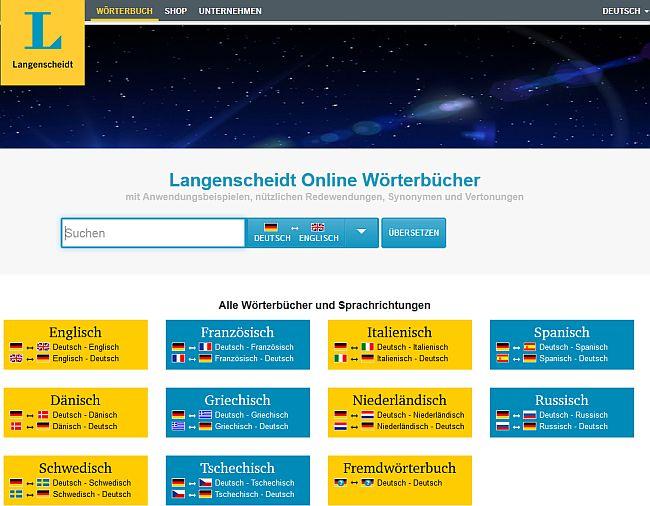 Startseite Langenscheidt-Online-Wörterbücher