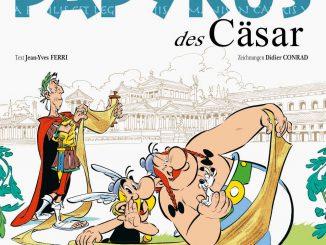 """Der neue Asterix-Band """"Der Papyrus des Cäsar"""", übersetzt von Klaus Jöken."""