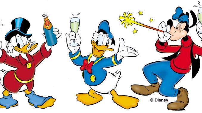 Dagobert, Donald, Goofy feiern