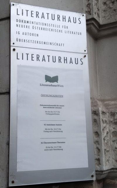 Schild Literaturhaus Wien