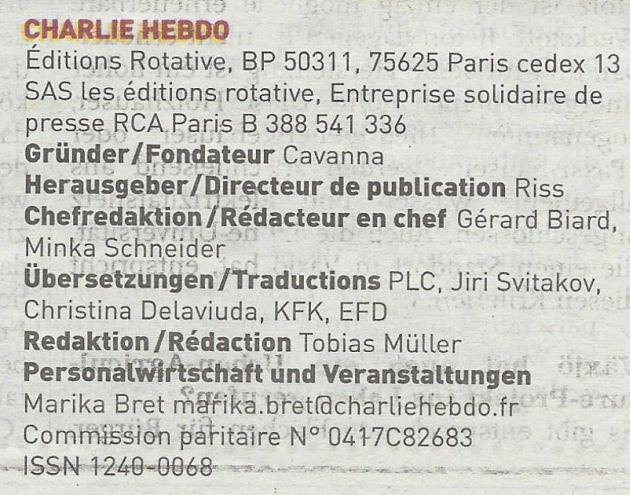 Charlie Hebdo deutsch Impressum