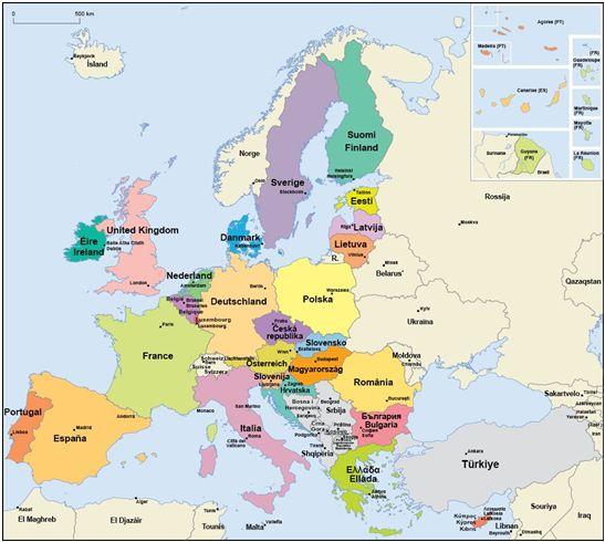 Karte der EU-Mitgliedsländer