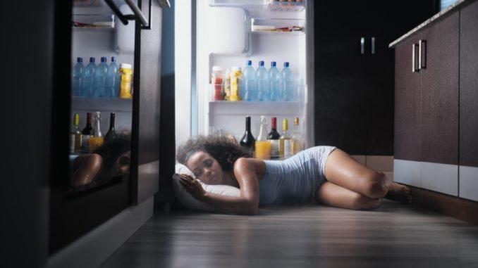 Nachts vor dem offenen Kühlschrank zu schlafen, ist keine Lösung.