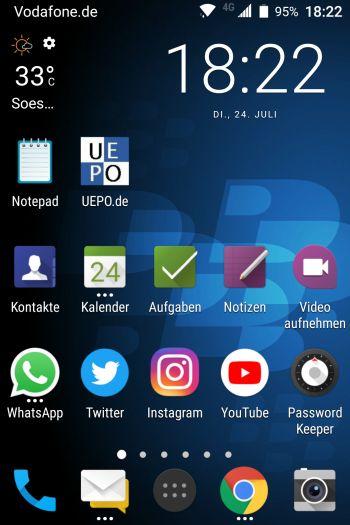 Startbildschirm Smartphone mit UEPO-Symbol