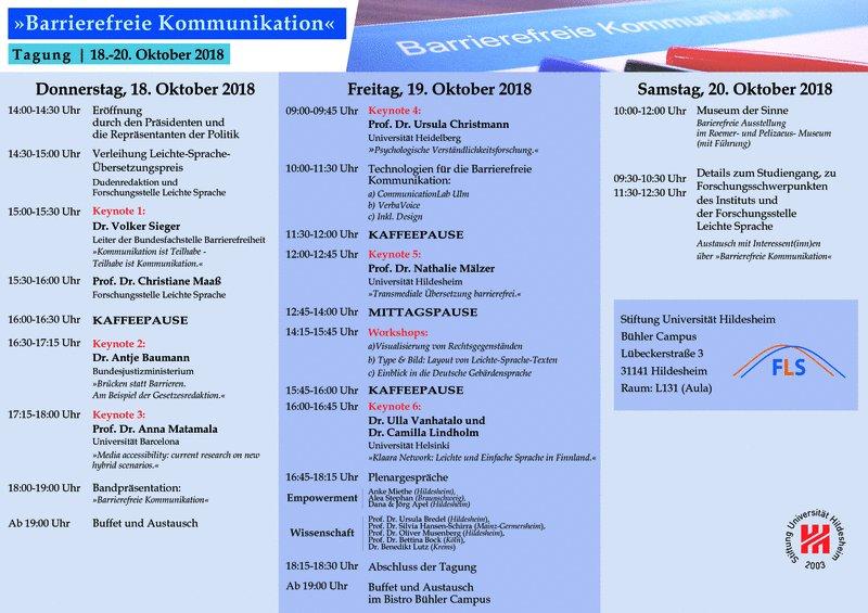 """Programm Tagung """"Barrierefreie Kommunikation"""""""