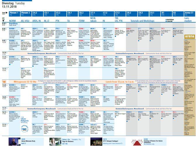 Tagesplan tekom-Jahrestagung