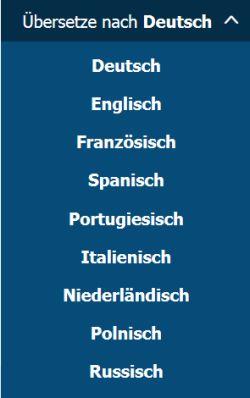 Menü Sprachenauswahl