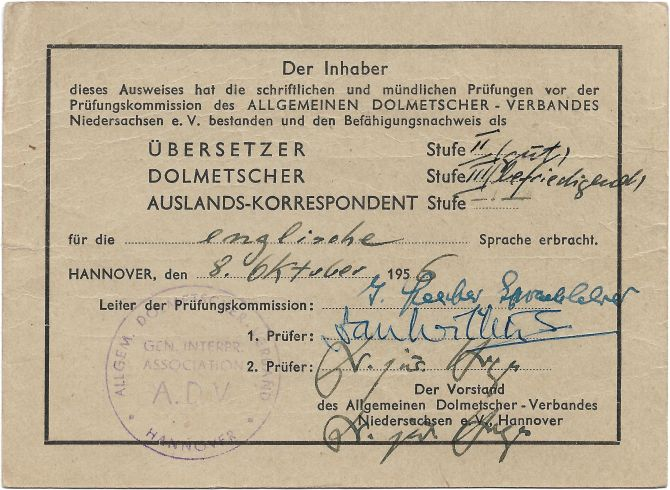 Mitgliedsausweis Allgemeiner Dolmetscher-Verband (Rückseite)