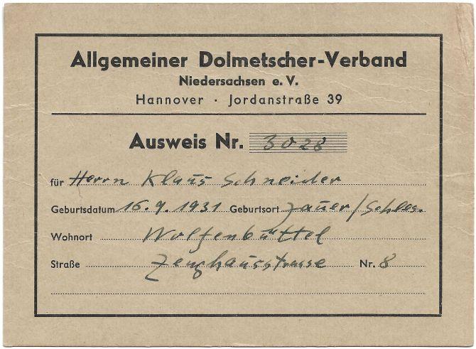 Mitgliedsausweis Allgemeiner Dolmetscher-Verband (Vorderseite)