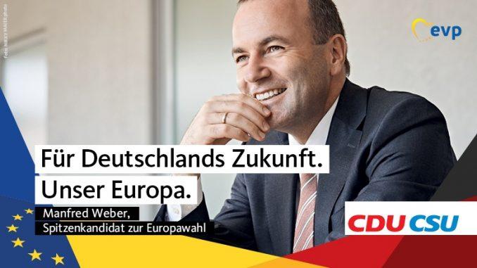 Wahlplakat mit Spitzenkandidat Manfred Weber