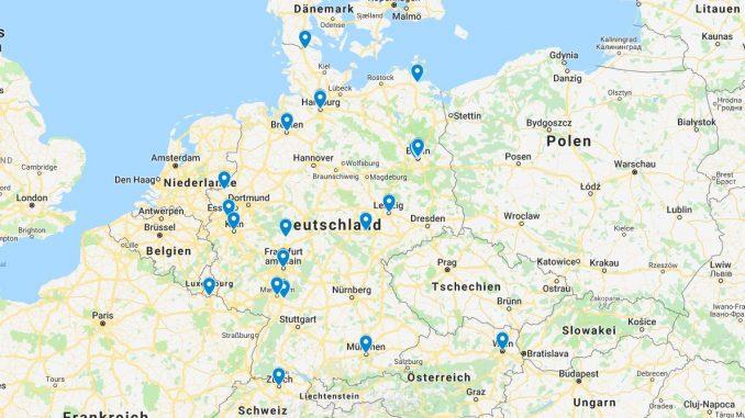Google-Karte mit Veranstaltungsorten