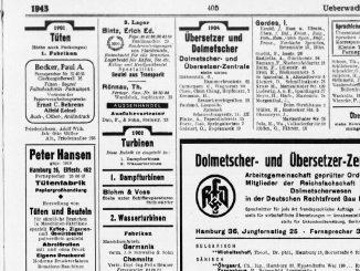 Dolmetscher- und Übersetzer-Zentrale der RfD, Gelbe Seiten Hamburg, 1943