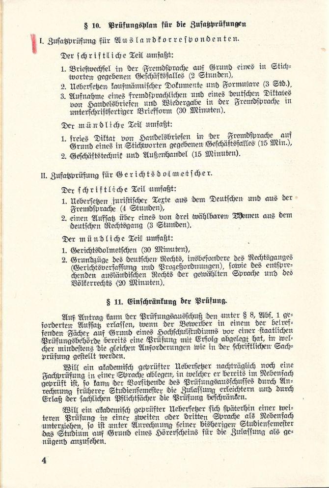 Prüfungsordnung Dolmetscher-Institut Universität Heidelberg 1937
