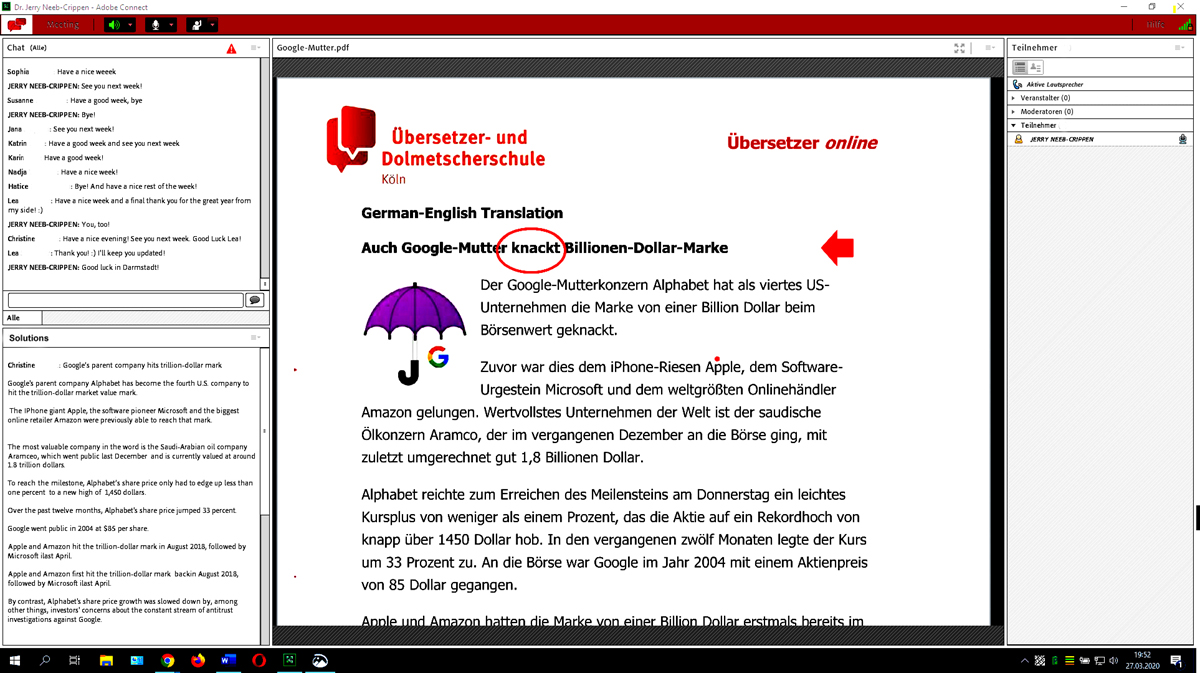 Screenshot Online-Unterricht
