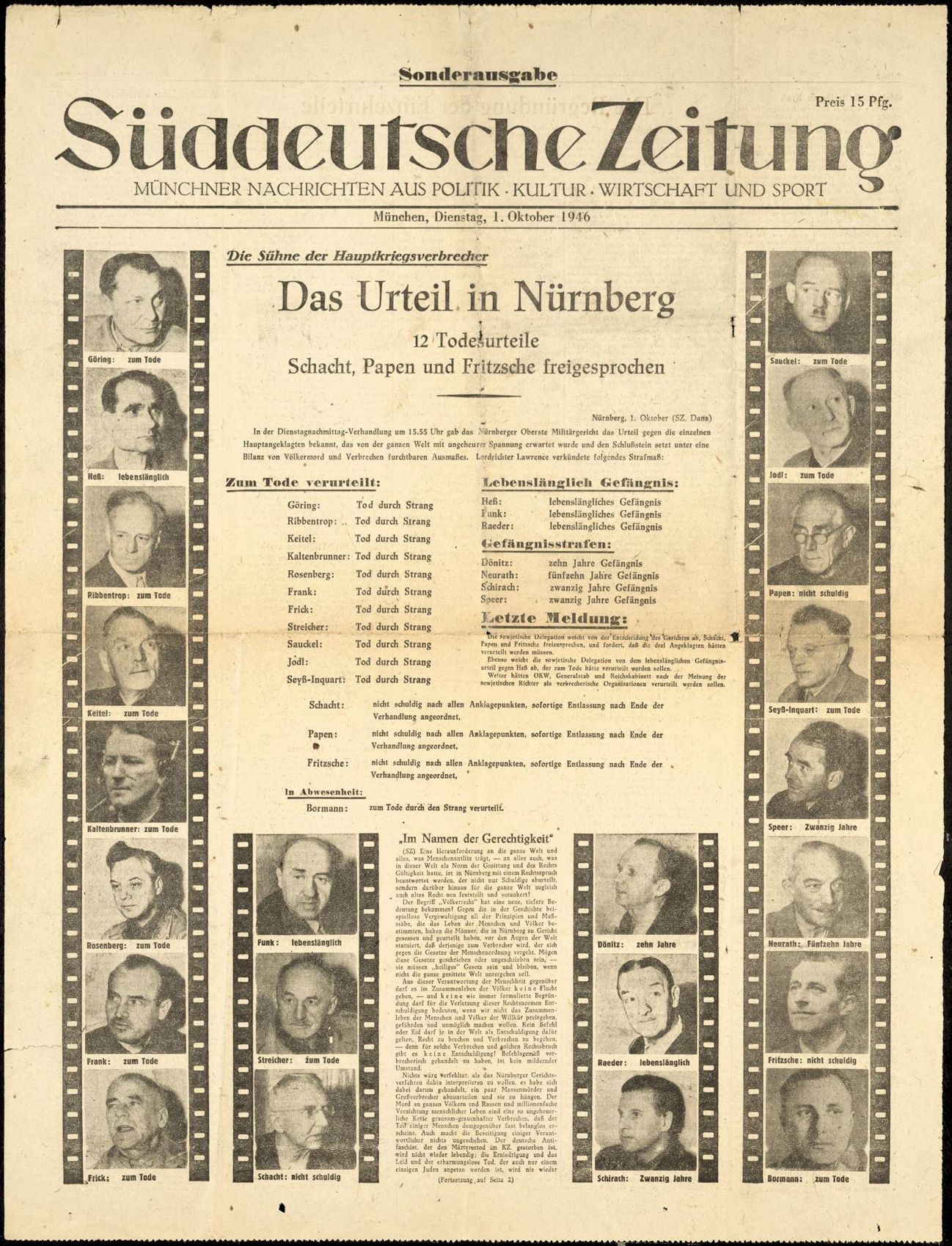 Urteil Nürnberger Prozesse