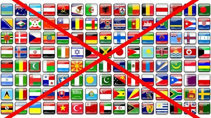 Flaggen, durchgestrichen