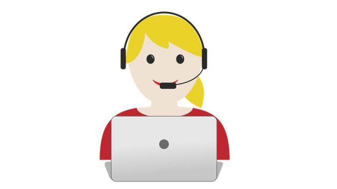 Dolmetscherin, Headset, Laptop