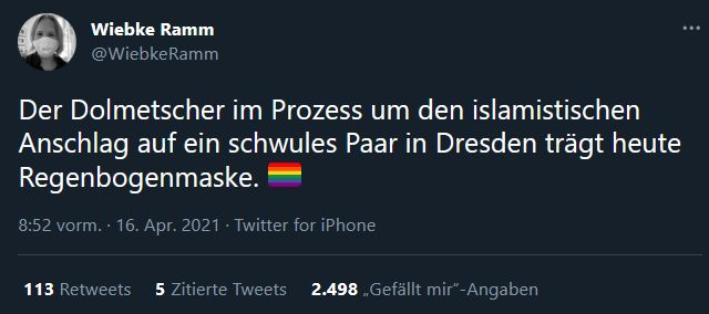 Wiebke Ramm Tweet Regenbogen-Maske