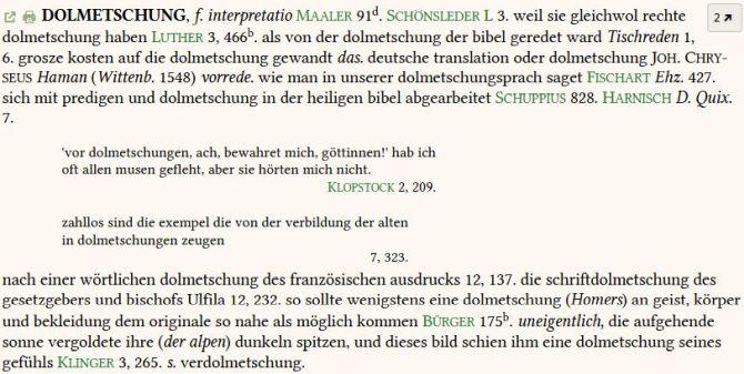 Eintrag Dolmetschung Grimmsches Wörterbuch